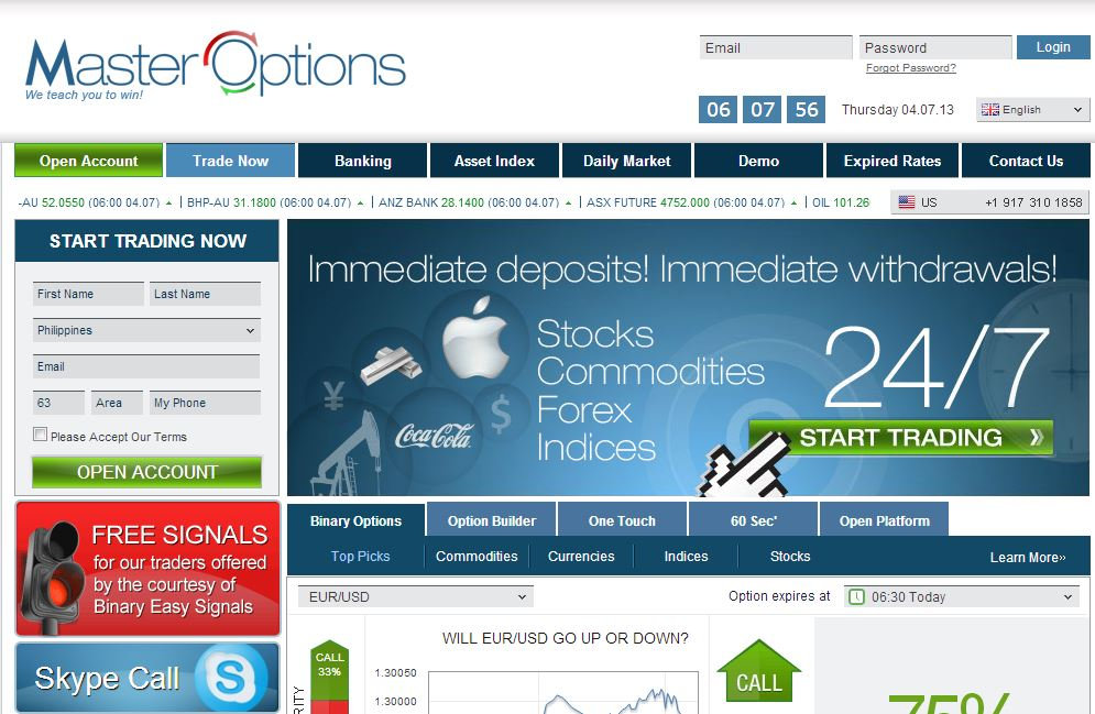 mastercard binary options
